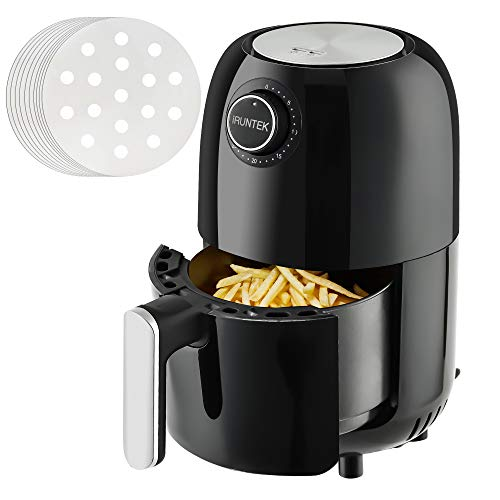 iRUNTEK Mini Compact Air Fryer, 1.3 Quart Electric Small Air Fryer Oven Cooker, Personal Oil-less healthy Fryer Pot with Timer Controls and Non Stick Basket, Auto Shut-off, 800W, Black