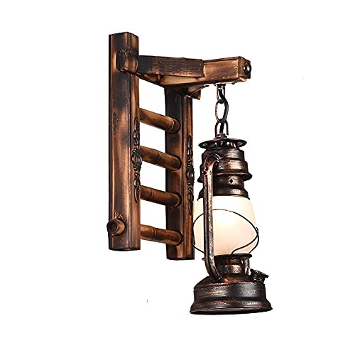 Zziyj Accesorios Iluminación, Habitación Arte Decoración De La Pared Linterna Linterna Lámpara De Pared Interior Lámpara De Pared Atic Comedor Wall Sconce Solid Wood Glass Lantern E27, Para Escaleras