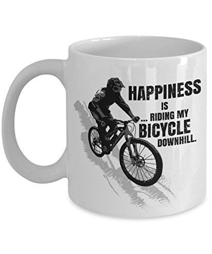 Happiness Is Riding My Bicycle Downhill Distressed Coffee & Tea Gift Mug for a Mountain Bike Rider and Cup Gifts for Men & Women Cyclist