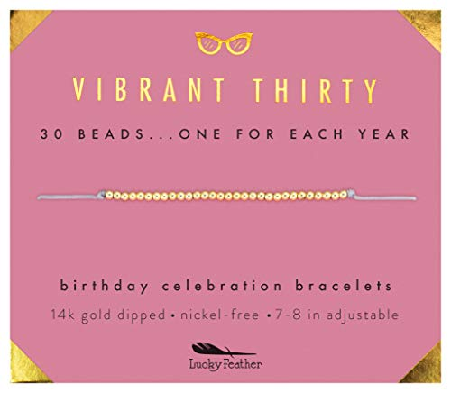 Lucky Feather 30th Birthday Gifts for Women; 30th Birthday Bracelet with 30 14K Gold Dipped Beads on Adjustable Cord; 30 Birthday Gift Ideas for Her