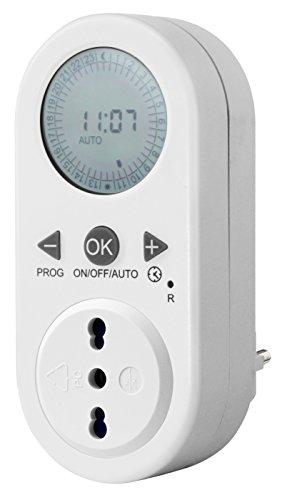 Electraline 58106 Timer Programmatore Digitale Giornaliero con Intervallo Programmazione, Bianco, Presa 10/16A