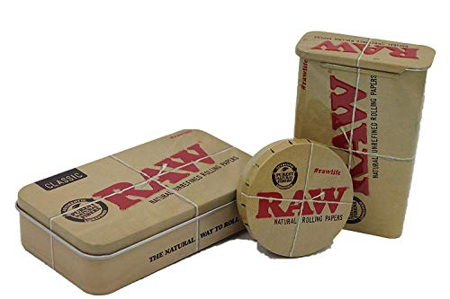 Bundle - 3 Items - RAW Rolling Papers Metal Storage Tin Bundle
