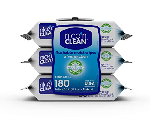 Nice 'n CLEAN Flushable Moist Wipes, 180 Count (3 Packs of 60)