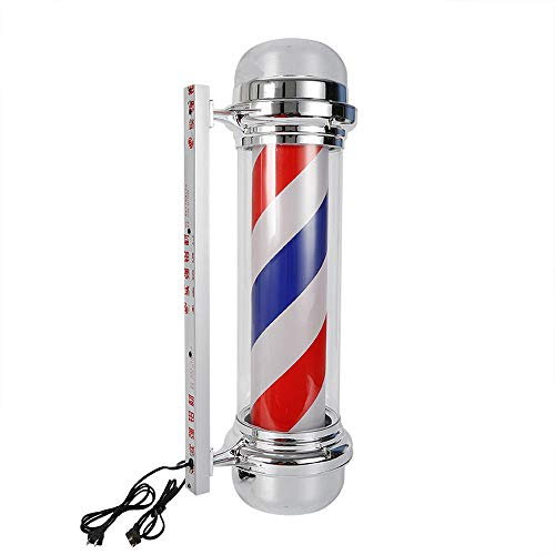 Barber Pole LED Glowing Globe Light,Hair Salon Barber Shop Open Sign,Rotating Red White Blue Spinning Strips Sign,IP44 Waterproof Save Energy (28 inch)