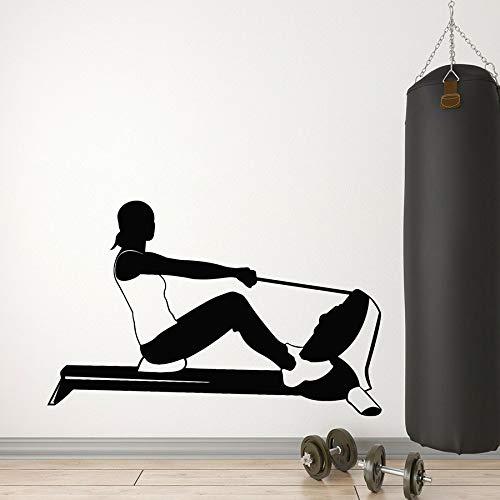wopiaol Gym Wandtattoo Rudern Sport Mädchen Fitness Gesunder Lebensstil Vinyl Wandaufkleber Schlafzimmer Home Decor Bodybuilding Kunst Wandbild