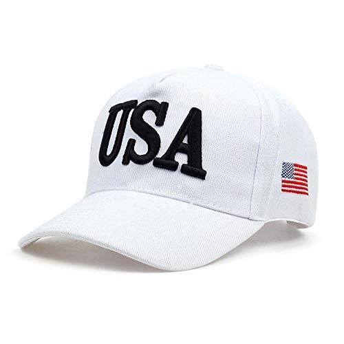 Gorra de Beisbol Nuevo EE. UU. Bandera Gorras Hombres Mujeres Gorra De Béisbol Engrosamiento EE. UU. Hombres Mujeres Sombrero De Golf Sombrero De Papá Ajustable Al Aire Libre 54-62Cm Blanco