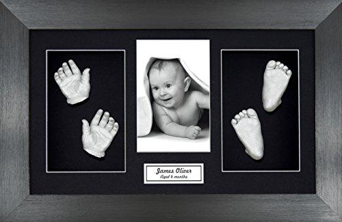 BabyRice Large Baby Casting Kit (Great for Twins!), 14.5x8.5' Brushed Pewter Frame, Black Mount, Silver Metallic Paint