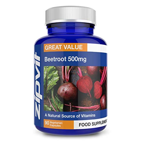 Beetroot 500mg, 90 Vegetarian Capsules. Naturally Rich in Vitamin A, B6 and C.