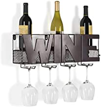 """Danya B. HG12507 Kitchen and Home Bar Décor - Decorative Wall Mount Metal Wine Bottle and Long Stem Glass Rack/Holder with The Word """"Wine"""""""