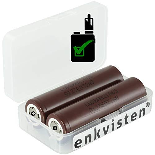 2 LG HG2 18650 3000 mAh Akkus INR für E-Zigarette Batterien Akku Dampfen Akkus für dampfer E-Zigarette + Akkubox