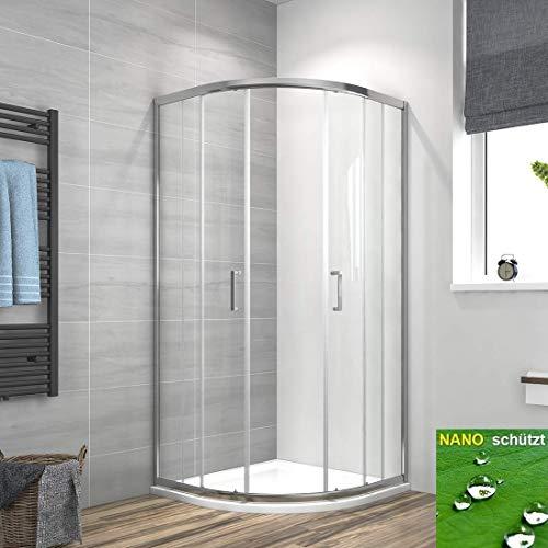 Meykoers Duschkabine 80x80cm Eckeinstieg Runde Dusche Schiebetür, Duschabtrennung Duschtür Duschwand Glas 6mm ESG Sicherheitsglas mit Nano-Beschichtung, Höhe 195cm Radius 55cm