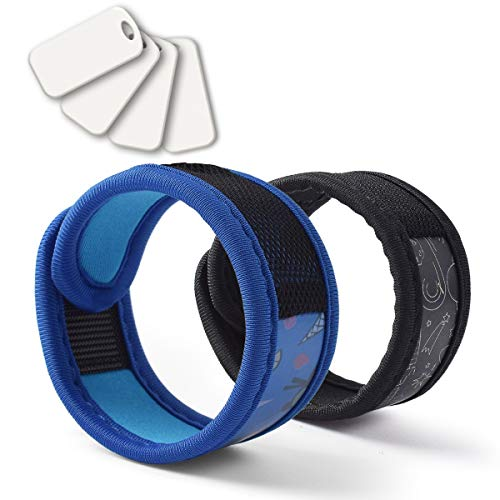 BuggyBands 2 Pack Mosquito Bracelet with 4 Essential Oils Refills, Waterproof Wristbands for Kids & Adults, Natural Deet-Free Resealable,Safe Indoor Outdoor Protection (Blue-Black)