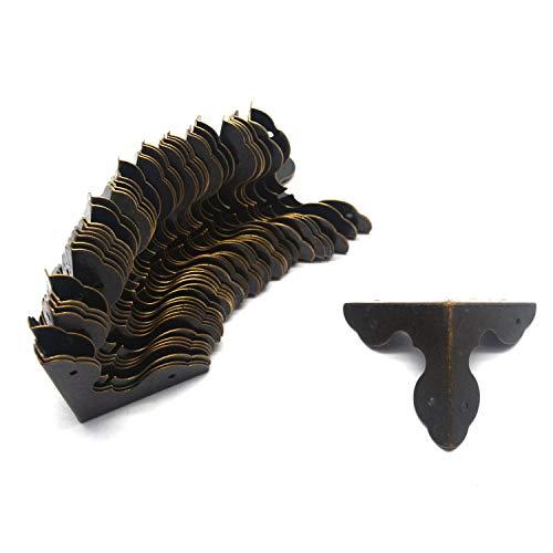 Tulead 40PCS Antique Hardware Decorative Bronze Corners Protector Metal Box Corner Guards 1.3'x1.3'x1.3' with Mounting Screws