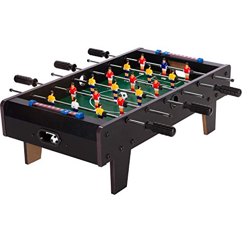 """Maxstore Mini Kicker Tischfußball """"Chelsea"""", schwarzes Holzdekor, Maße: 70x37x25 cm, Gewicht: 4 kg, 6 Spielstangen, Kleiner Kinder Tischkicker inkl. 2 Bälle"""