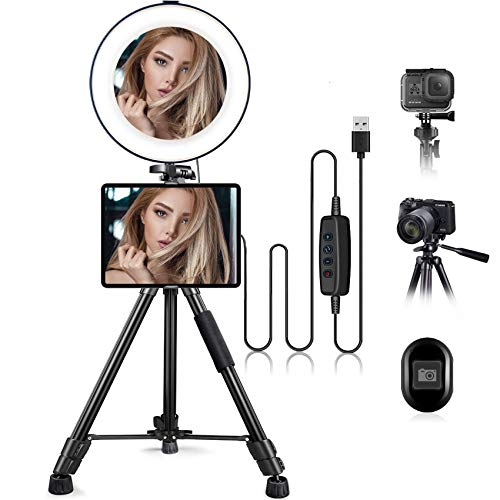 "10.2"" Selfie Ring Light with Stand & iPad/Phone Holder HQOON LED Ringlight with 52"" Extendable Tripod Stand for Makeup/Photography/Live Stream/Video Recording, Compatible with iPad Phones and Cameras"