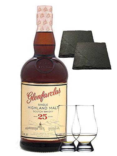 Glenfarclas 25 Jahre Single Malt Whisky 0,7 Liter + 2 Glencairn Gläser + 2 Schieferuntersetzer quadratisch ca. 9,5 cm