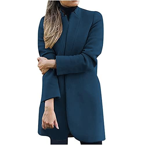 StarneA Traje de graduación para mujer, traje informal de manga larga, chaqueta de punto, elegante, para negocios, oficina, monocolor, entallada, chaqueta de trabajo azul cielo XL