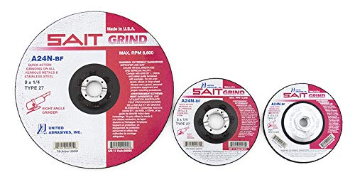 United Abrasives-SAIT 20070 Type 27 A24N Grade 5-Inch x 1/4-Inch x 7/8-Inch Fast Depressed Center Grinding Wheel, 25-Pack