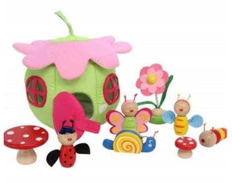 Fabric Flower Home with Wooden Characters Play Set