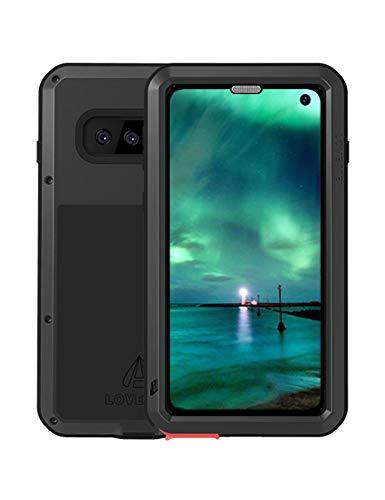 FONREST Completo Funda para Samsung Galaxy S10, Love Mei 6,1-Pulgada Antichoque Al Aire Libre Híbrido Aluminio Metal Antipolvo Carcasas con Vidrio Templado, Soporte de Carga inalámbrica (Negro)