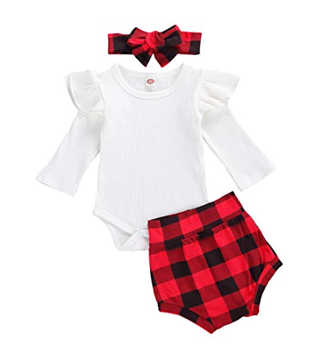 Baby Girls Outfits Newborn Knitted Infant Baby's First Christmas Plaid Shorts Romper Clothes (Red Plaid, 0-3 Months)