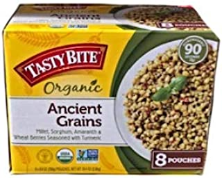 Tasty Bite Organic Ancient Grains: Millet, Sorghum, Amaranth & Wheat Berries Seasoned with Turmeric- 8 Pouches (8.8 oz)