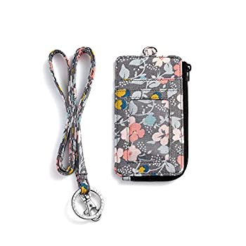 Fashion Badge Holder with Zipper Cute ID Badge Card Holder Wallet with Lanyard Strap for Offices ID School ID Driver Licence