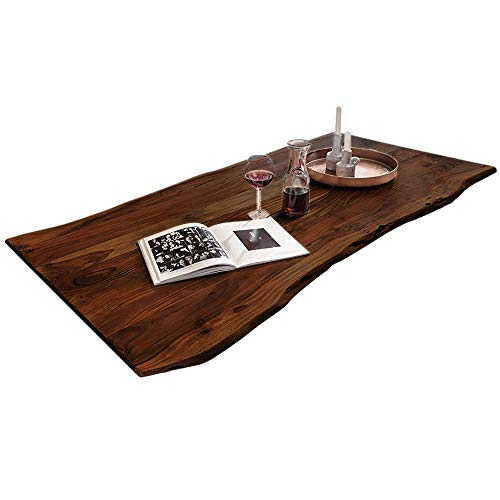 SAM Tischplatte 120x80 cm, Akazie massiv, nussbaumfarben, stilvolle Baumkanten-Platte, pflegeleichtes Unikat