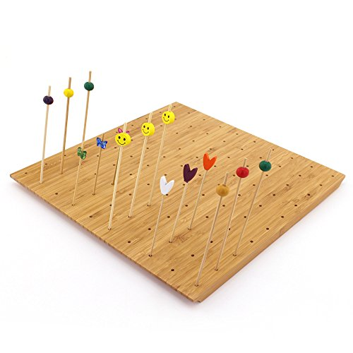 BambooMN 12'x11.8' Bamboo Skewer Holder Food Display Stand w/ 100 Holes, Perfect for Catered Events, Restaurants, Cocktail Party Supplies - 3 Pieces