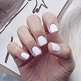 Edary Matte False Nails Short Square Fake Nails Press on Nails 24Pcs Art Nail for Women (White)