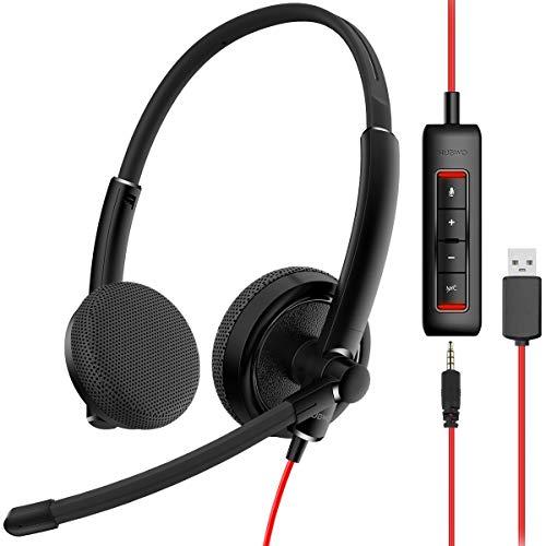 NUBWO PC Headset mit Mikrofon, USB Headset, PC Kopfhörer mit Inline-Lautstärkeregler Integrierte Soundkarte zur Rauschunterdrückung für Skype Office-Geschäftsanrufe