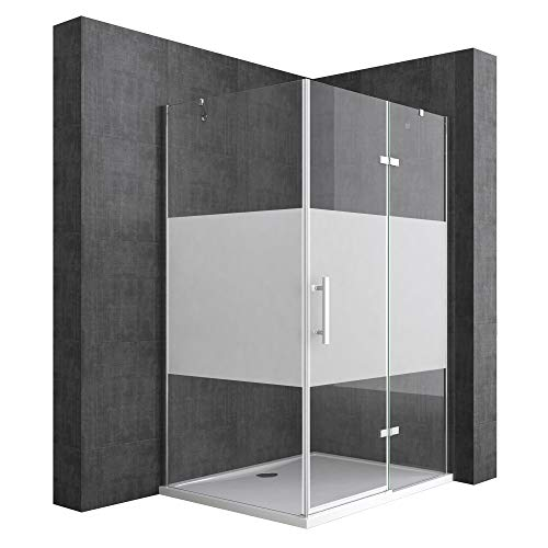 Mai & Mai Mampara de ducha de esquina 100x80x195cm cabina de ducha de vidrio de seguridad con franjas de vidrio esmerilado y nano revestimiento, plato de ducha incluido R28MS