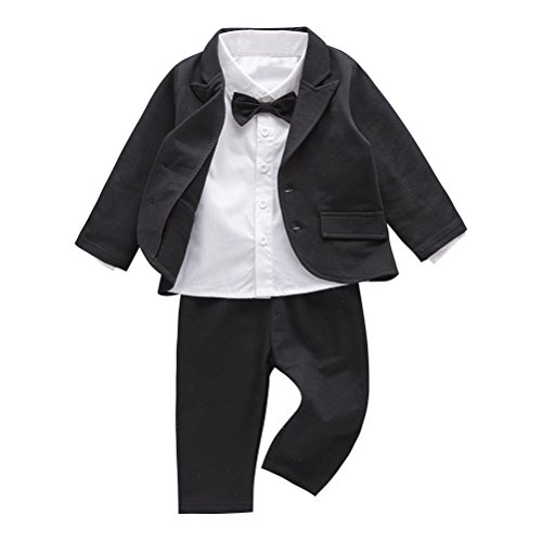 Lito Angels Baby Boys' Classic Tuxedo with Tail Wedding Outfits Suit 5 Piece Set Size 12 Months Black