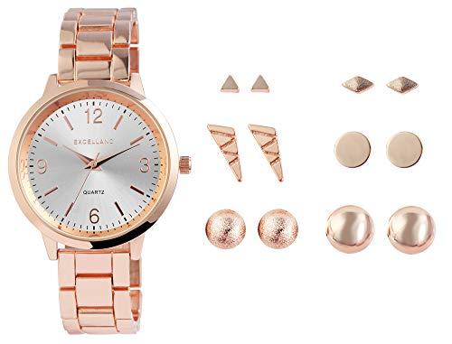 Excellanc Damen-Geschenkset Armbanduhr Ohrstecker Elegant Analog Quarz 1800183 (roségoldfarbig)