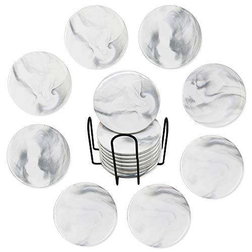 QUMENEY 8 Stück marmoruntersetzer rund weiss mit Halte, Untersetzer für Tassen, Einweihungsgeschenke für Zuhause, Bar, Restaurant, Küche