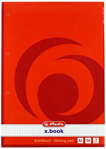 Herlitz 733436Block-Papier Briefpapier DIN A4/100Blatt kariert/perforiert 70g/m²