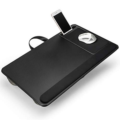 Modazon Base para ordenador portátil con soporte para teléfono, cojín portátil para sofá con alfombrilla para ratón y reposamuñecas, para portátil de hasta 17 pulgadas