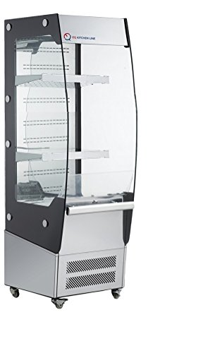 EQ Kitchen Line Stainless Steel Commercial Self-Contained Open Refrigerated Display Case, 26.54'L x 19.45'W x 57.09'H