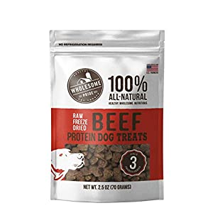 Wholesome Pride Raw Freeze Dried Beef 2.5 oz – All Natural Healthy Dog Treats – Gluten and Grain-Free Dog Snacks