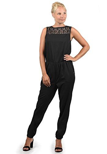 BlendShe Amor Damen Jumpsuit Overall Einteiler Mit Spitze Und Rundhals-Ausschnitt, Größe:XL, Farbe:Black (20100)