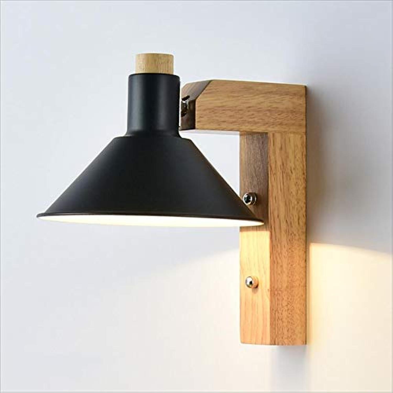 XRFHZT Modernes Metallholz dekorative Wandlampe Schlafzimmer Nachttischlampe Flur Flur in der Beleuchtung,schwarz