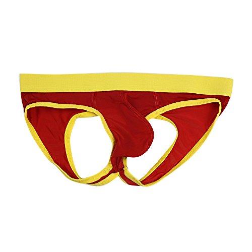 EUCoo Pantaloncini Intimi Sexy da Uomo Striscia di Cotone Mutande Morbide Slip Natiche Nude(Rosso,Small)