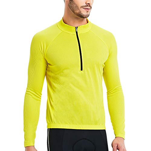 CATENA Men's Cycling Jersey Long Sleeve Shirt Running Top Moisture Wicking Workout Sports T-Shirt Yellow, Small