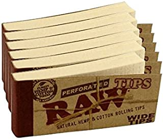 Raw Rolling Papers Perforated Wide Cotton Filter Tips 6 Pack = 300 Tips