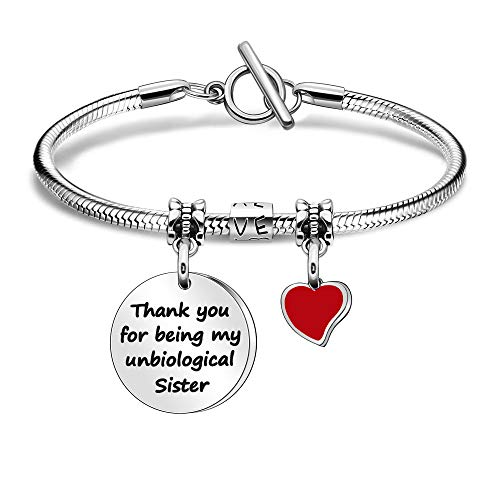 Thank You Gift for Women Girls Unbiological Sister Bracelet Jewellery for Christms Birthday Graduation- Thank You for Being My Unbiological Sister