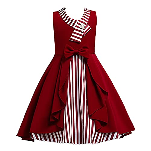 iiniim Vestido de Causal Verano para Niña, Vestido de Princesa Infantil para Chico, Vestido de Estamapado Rayas con LazosFantasía para Niña Rojo 10-11 años