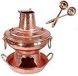 Parrilla Eléctrica Portátil Pot de cobre tradicional guiso de guiso de cazuela con tapa hecha de moda carbón caliente olla caliente, for cenas familiares tradicional viejo beijing carbón caliente olla