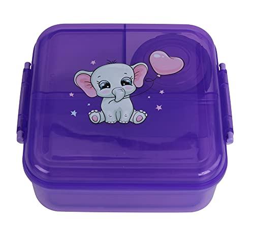 OLWO Lunchbox-Bentobox für Kinder und Erwachsenen, Brotdose für Kindergarten und Schule mit Unterteilung, Bentobox Kinder Baby Elefant Violett (Violett)