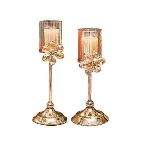 Candlestick European Style Home Living Room Dining Table Wedding Photography Dessert Table Golden Candle Holder Candlestick Holders (Color : Metallic, Size : 12X36cm)
