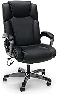 Essentials Massage Office, Computer, or Gaming Chair - Heated Shiatsu Plush Leather Executive Chair, Black